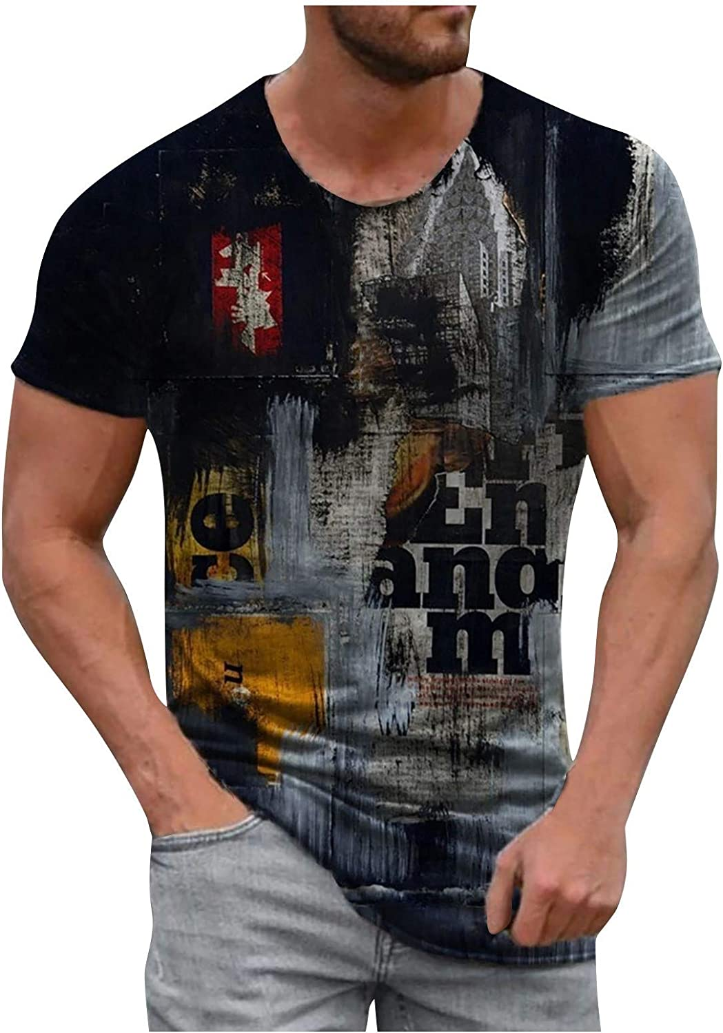 Omaha Mall 2021 Mens Summer Clothes Casual Short Cotton Round Sleeve Ranking TOP10 3
