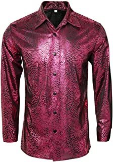 Mens Metallic Shiny Nightclub Costume Sequins Snakeskin Shirt Long Sleeve Slim Fit Button Down 70s Disco Party Props
