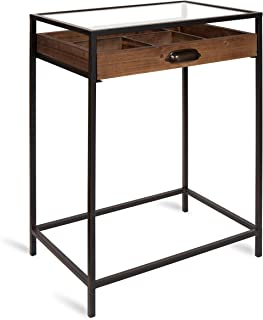 Kate and Laurel McConnell Farmhouse Wood Side Accent Table with Glass Top and Display Drawer, Rustic Brown with Black Metal Frame