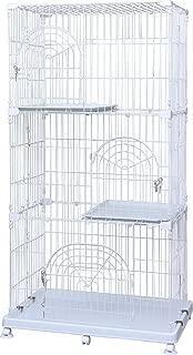 アイリスオーヤマ ペットケージ 3段 ホワイト 幅93×高178cm