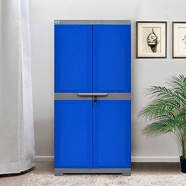 Nilkamal Freedom Mini Medium (FMM) Plastic Storage Cabinet (Deep Blue & Grey)