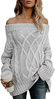 Fekey&JF Womens Off Shoulder Oversized Sweatrs Loose Casual Cable Knit Pullover Slash Neck Long Jumper