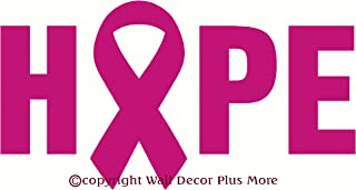 Wall Décor Plus More WDPM2191 HOPE with Breast Cancer Awareness Ribbon Vinyl Wall Art Sticker Decal, 23 W x 12 H, Hot Pink, 1-Pack