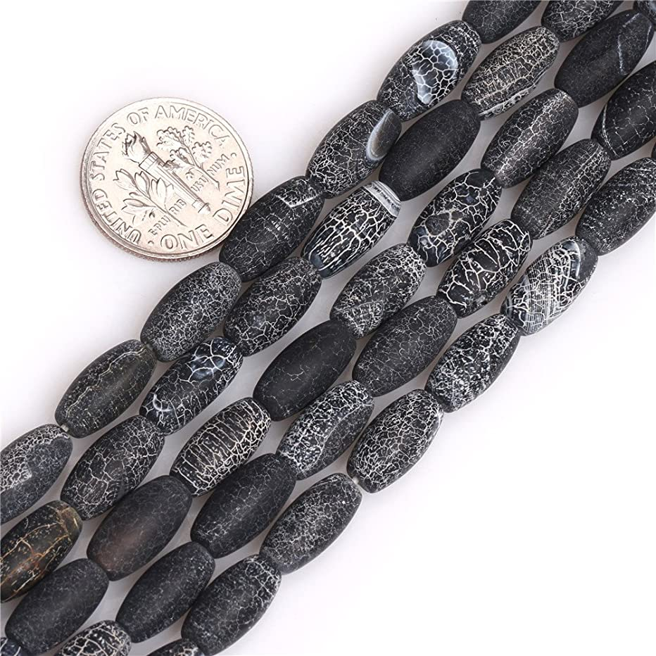 JOE FOREMAN 6x13mm Black Agate Semi Precious Gemstone Matte Frosted Oval Egg Loose Beads for Jewelry Making DIY Handmade Craft Supplies 15