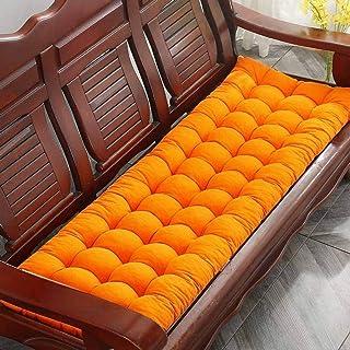 Alfombrilla de banco Cojín de asiento, cojín de banco grueso, rectangular, suave, chaise, columpio, silla, cojín para jardín, exterior, madera, metal, banco, 2, 3 plazas, 48 * 120 cm, naranja