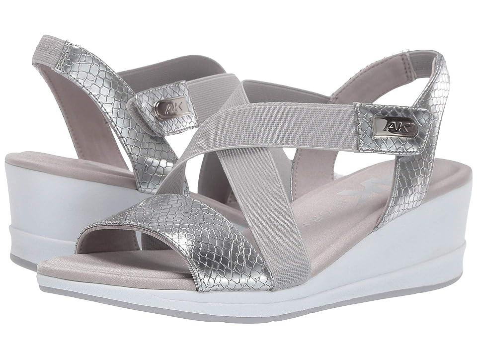 Anne Klein Sport Nessy Wedge Sandal (Silver) Women