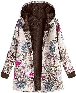 JOFOW Womens Fleece Lined Jackets Parka Boho Flowers Floral Print Hooded Vintage Loose Warm Coat Plus Size XXXL