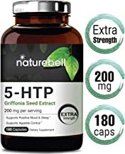 NatureBell 5 HTP 200mg Per Serving, 180 Capsules, Griffonia Seed Extract, Powerfully Promotes Positive Mood and Sleep, No GMOs, Made in USA