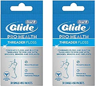 Glide Threader Floss, 30 Single-Use Packets each (Value Pack of 2)