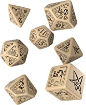 Q WORKSHOP Call Of Cthulhu RPG beige & black Ornamented Dice Set 7 Polyhedral Pieces