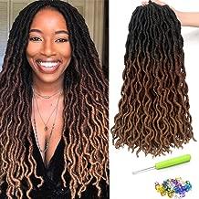 18 Inch Goddess Faux locs Crochet Hair 6 Packs/Lot Soft Gypsy Loc Wavy Crochet Braids Dreadlocks3 Tone Ombre Curly Wavy Twist Braiding Hair Extensions 24 Strands/Pack African Roots Braid(#1B/30/27)