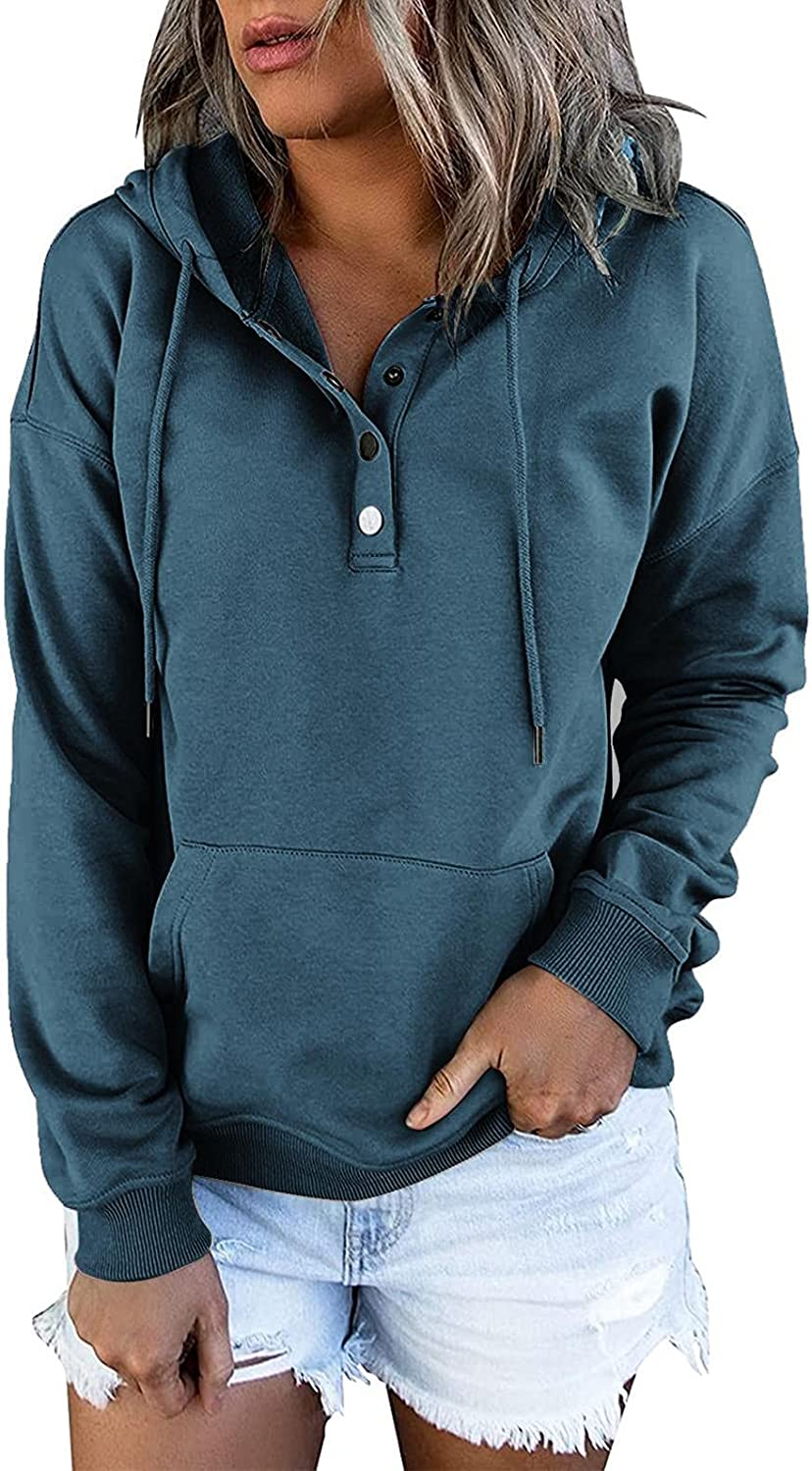 COMVALUE Womens Hoodies,Button Down Hoodies Drawstring Pullover Hooded Long Sleeve V Neck Sweatshirts with Pocket