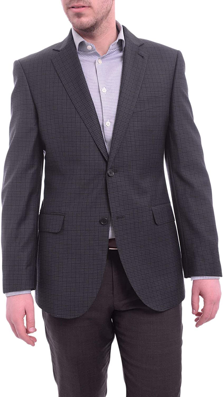 Zanetti Modern Fit Navy Blue Check Two Button Wool Blazer Sportcoat