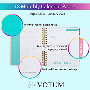 2021-2023 Organized Chaos, 18 Month Large Daily Planners/Calendars: Votum Planners with Monthly, Weekly and Daily Views - Per