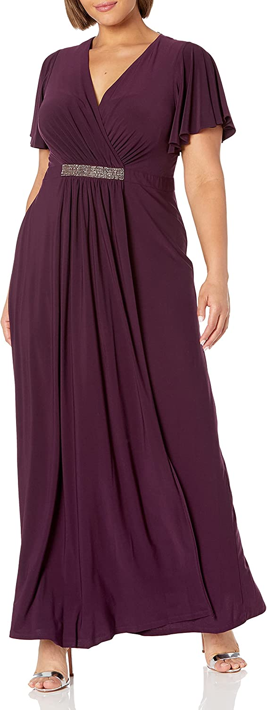 S.L. Fashions Women's Plus Size Long Dress Flutter Sleeve V Neck Waist Detail