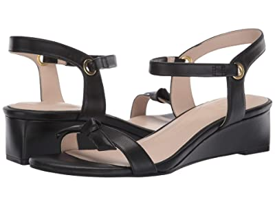 Cole Haan Halsey Wedge Sandal (40 mm) (Black Leather Brushed Gold) Women
