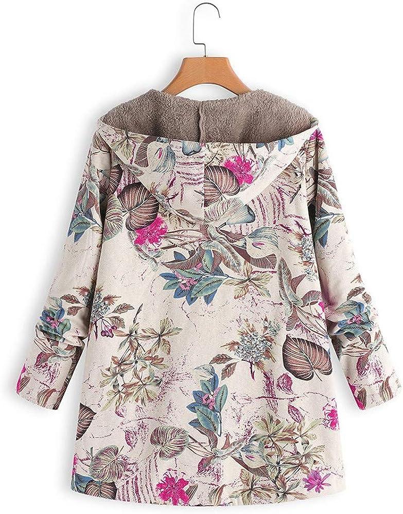 MEIbax Damen Oversize Flauschigen Pelz Mantel Baumwolle Leinen Outwear Reißverschluss Plüschjacke mit Kapuze Langarm Parka Pink