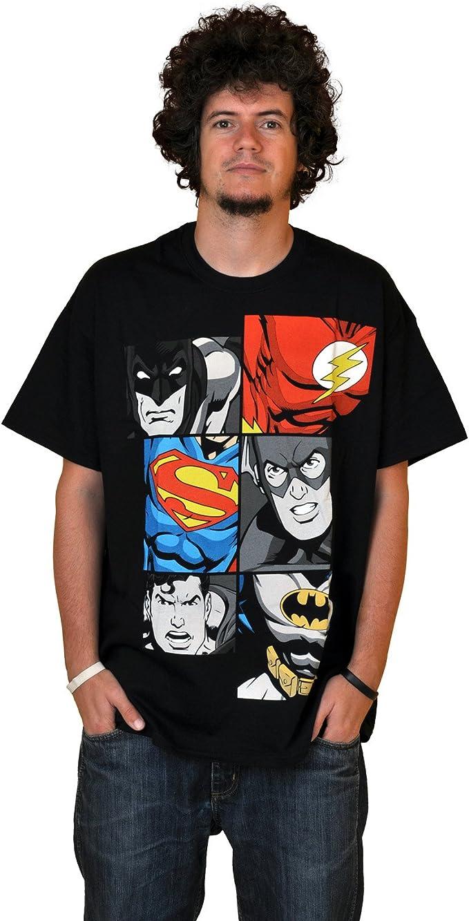 JUSTICE LEAGUE Retro Comic Herren T Shirt MEN AT WORK ...