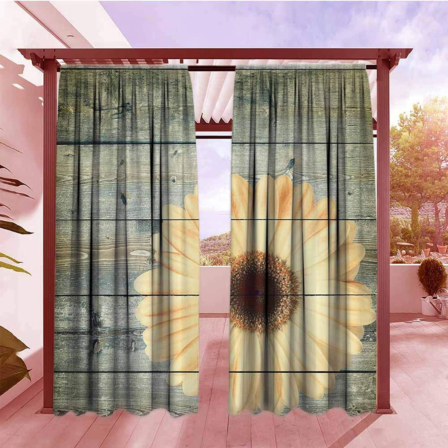 Curtains Rod Pocket Two Panels Abstract Oak Tree Wood and Daisy Gerbera Flower Green Yellow Simple Stylish W72x96L