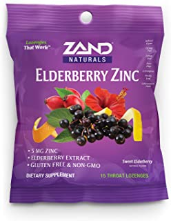 Zand HerbaLozenge Elderberry Zinc | Good-for-You Lozenges for Dry Throats | No Corn Syrup, No Cane Sugar, No Colors (12 Ba...