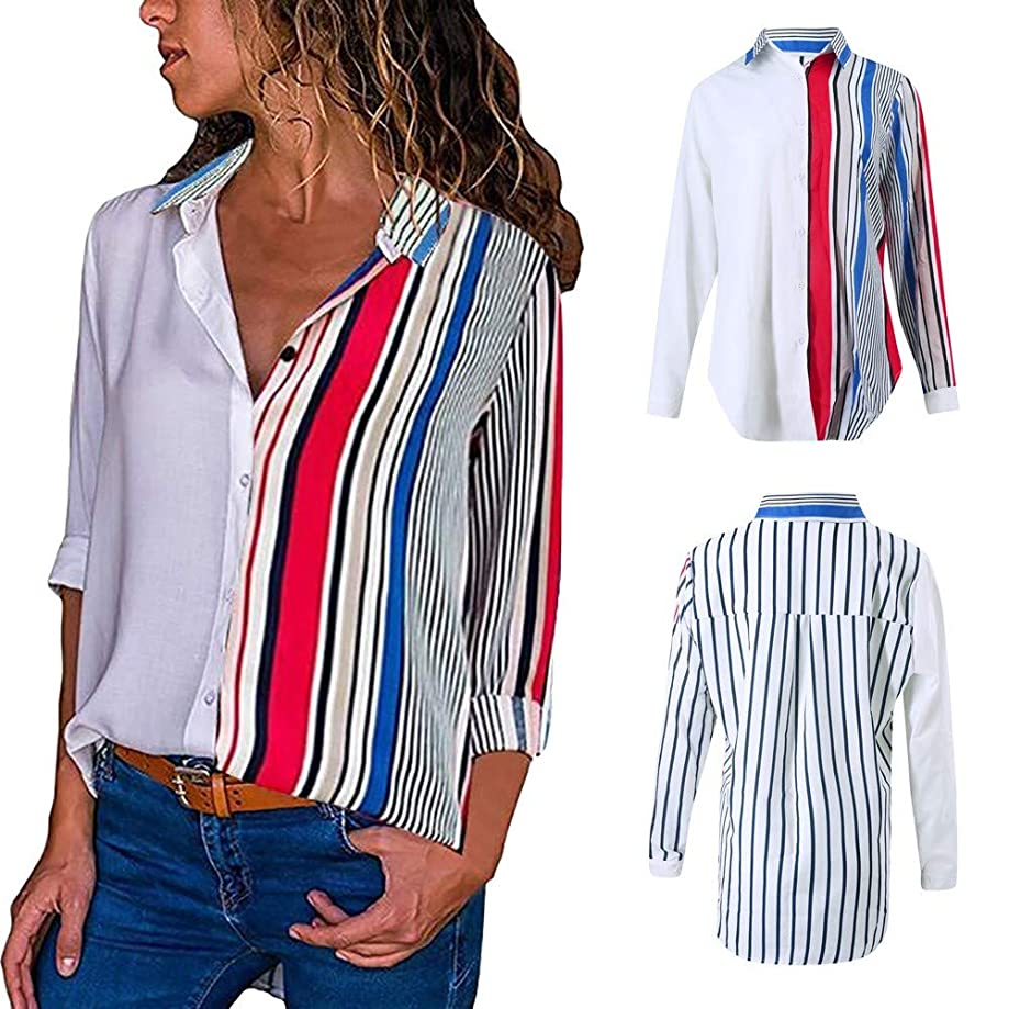 Blouses For Womens,Clearance Sale!!Farjing Womens Casual Long Sleeve Color Block Stripe Button T Shirts Tops Blouse