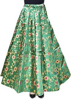 Mamta women's Women's Cotton Silk Umbrella Cut Party Function Traditional Lehenga Skirt (Forest Green, Free Size)
