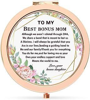 Onderful Retro Flowers Epoxy Travel Compact Pocket Makeup Mirror for Bonus Mom from Bonus Daughter,Wedding Birthday Ideas ...