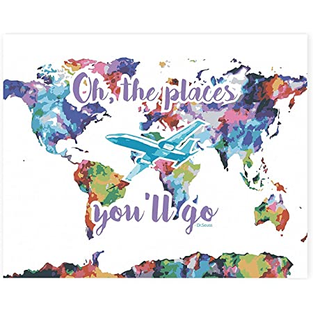 Amazon Com Wall Map 24x36 Inch Print Nursery Decor World Map Wall Print Oh The Places You Ll Go Dr Seuss Nursery Wall Print Nursery Wall Print Quote Watercolor Décor Airplane Décor Posters