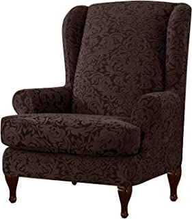 Subrtex 2-Pieces Spandex Jacquard Damask Elastic Arm Chairs Wingback Chair Cover Waffle Fabric Wing Back Furniture Protector Stretch Sofa Slipcovers for Living Room(Wing Chair, Brown)