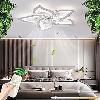 Ventilateur De Plafond En Fer Avec Éclairage, Télécommande Dimmable Calme De Ventilateur LED Plafonnier Créativité Moderne...