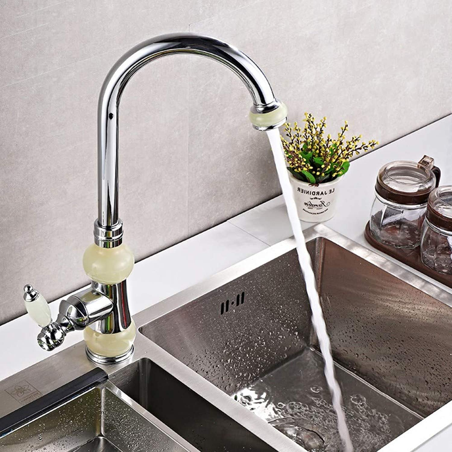 Natural Jade Faucet Copper Kitchen hot and Cold Water Faucet golden Jade Faucet B