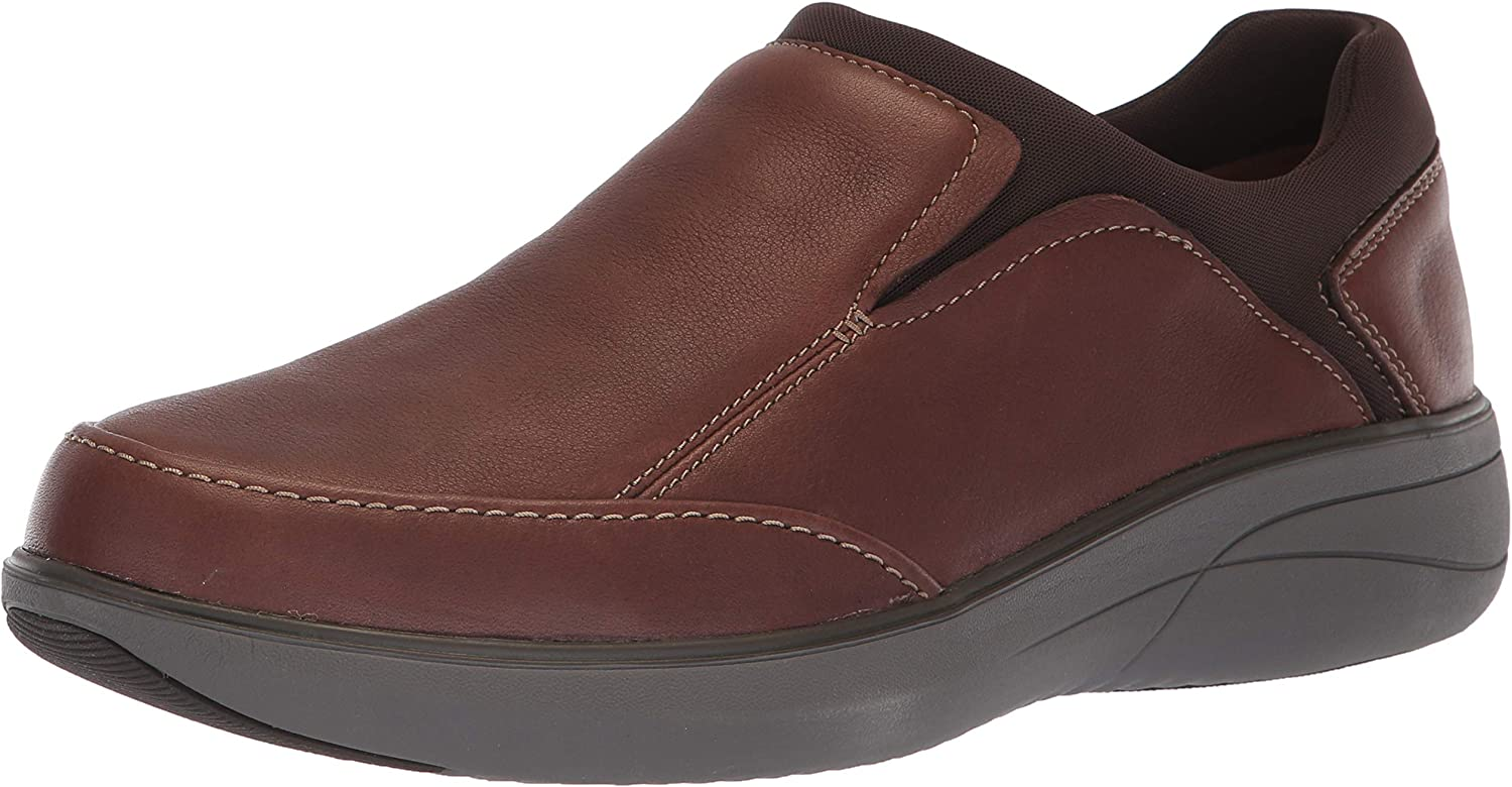 CLARKS Men's Un Rise Step Loafer, Mahogany Tumbled Leather, 070 M US