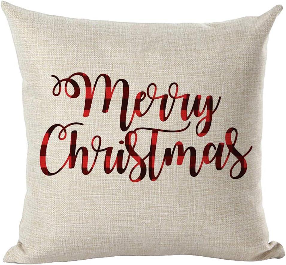 Merry Christmas Throw Cushion Cover Cartoon Pillow Case Xmas Bed Sofa Home Decor