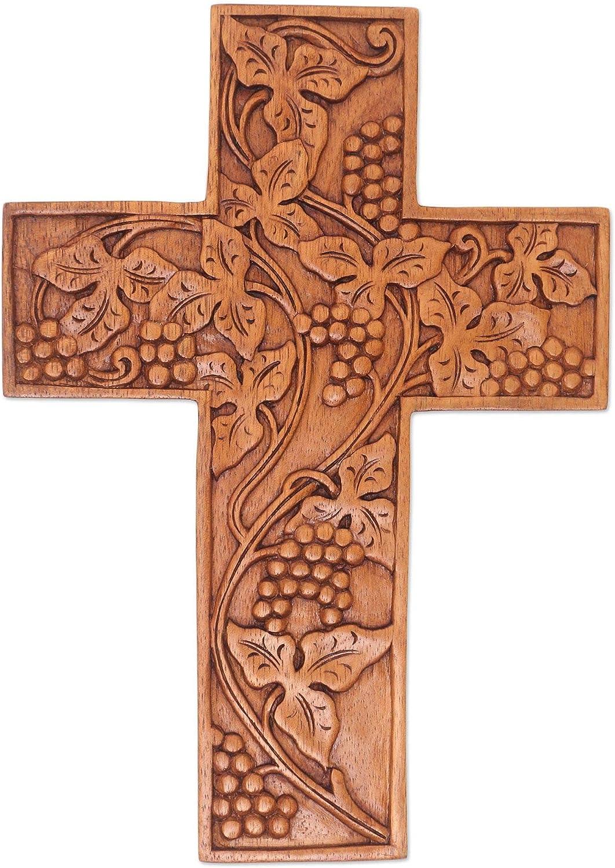 NOVICA Grape Sales Leaves Popular product Cross Wall Wood
