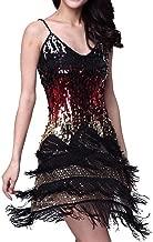 Vijiv Women's Adjustable Strap Gradient Sequin Fringe Dance Party Dress
