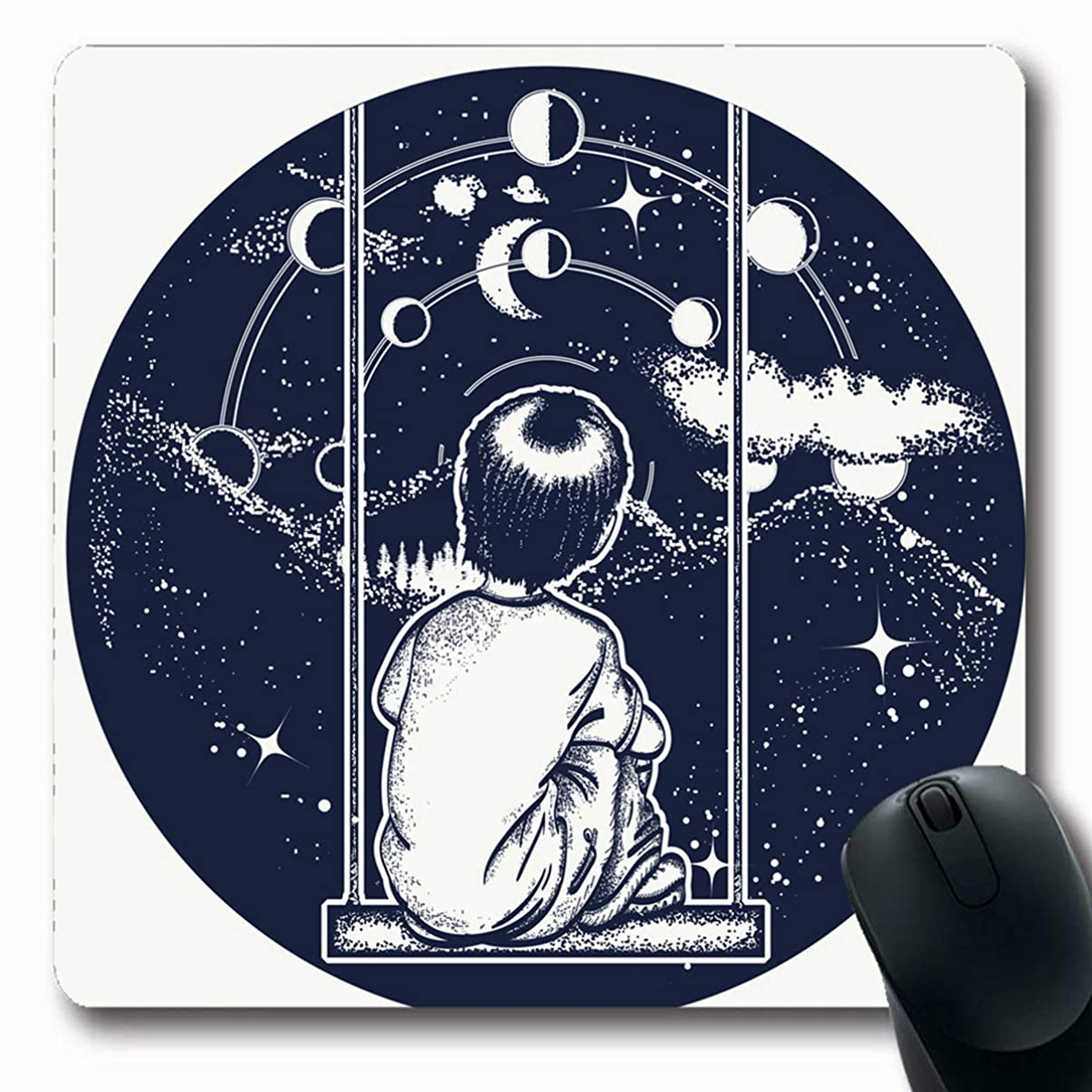 LifeCO Computer Mousepads Engraving Boy On Swing Mountains Dreamer Tattoo in Looks Motivation at Stars Poetry Psychology Oblong Shape 7.9 x 9.5 Inches Oblong Gaming Mouse Pad Non-Slip Rubber