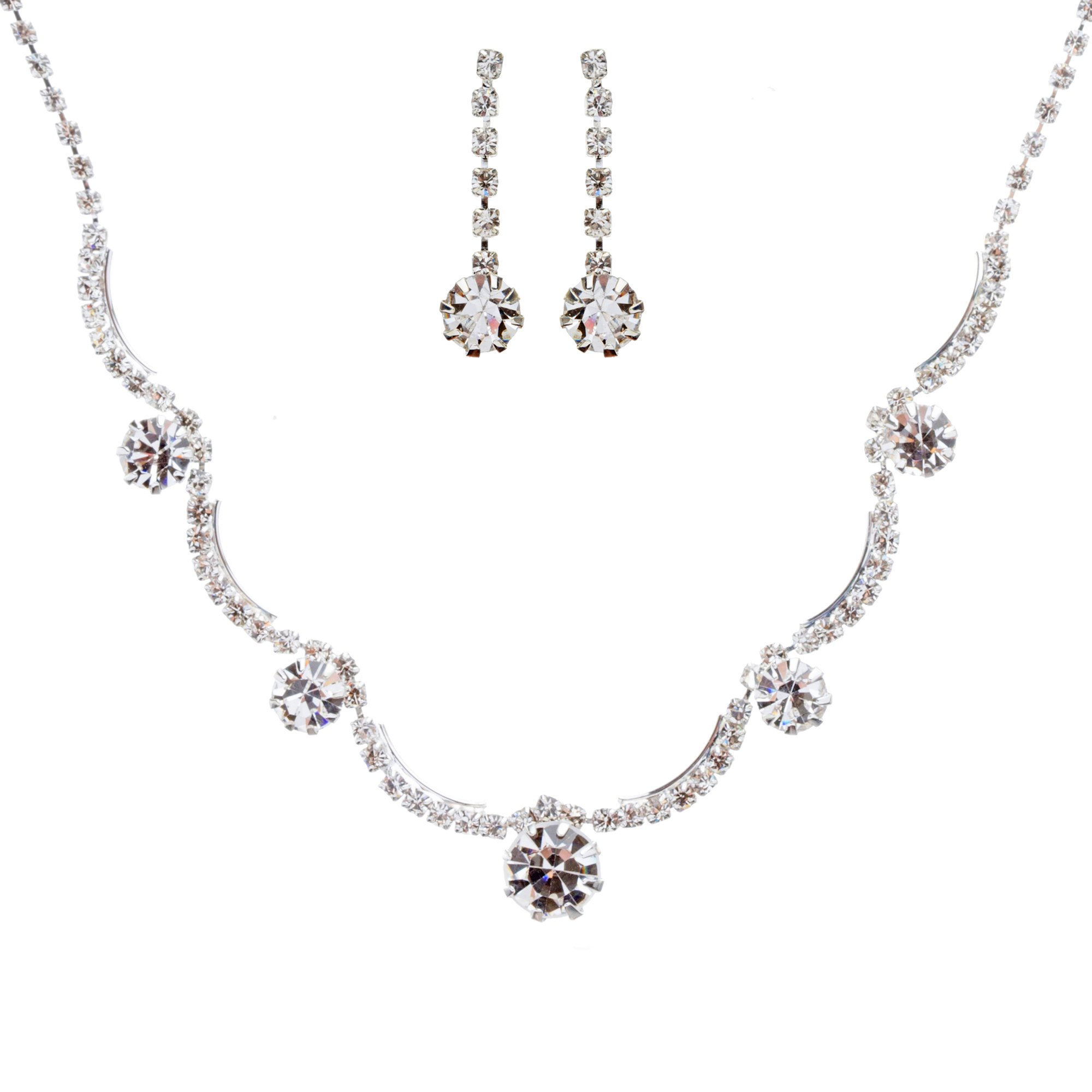 ACCESSORIESFOREVER Bridal Wedding Prom Jewelry Set Crystal Rhinestone Gorgeous Curved Design Necklace