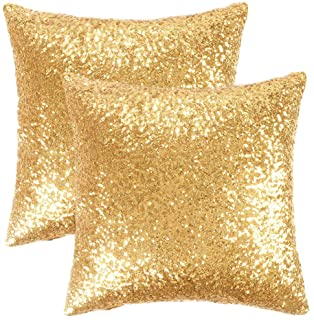 PONY DANCE Gold Sequin Pillow Cover – Glitter Sequins Stylish Cushion Covers Xmas..