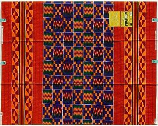 アコソンボ プリント (アフリカン プリント布) ガーナ製 Akosombo Print Made in Ghana (ケンテ柄A Kente A, 2ヤード 2yd.)