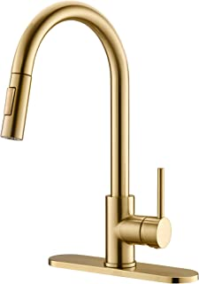 Havin HV601 Single Handle Brass Material Kitchen Sink Faucet with Pull Out Sprayer,Brushed Gold Color,Fit for 1 Hole and 3 Holes Deck Mount, Kitchen Faucet with Pull Down Sprayer
