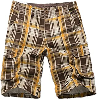 qiu ping Shorts, Multi-Pocket Pants, Plaid Five-Point Shorts, Men's Casual Loose Men's Trousers, Shorts, Male