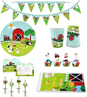 86 Piece Farm Animals Pig Cow Sheep Tractor Party Supplies, Kids Birthday Party Decoration Tableware Pack, Including Banner, Plate, Cup, Straw, Cupcake Deco, Table cover, Invitation Card, Serves 12