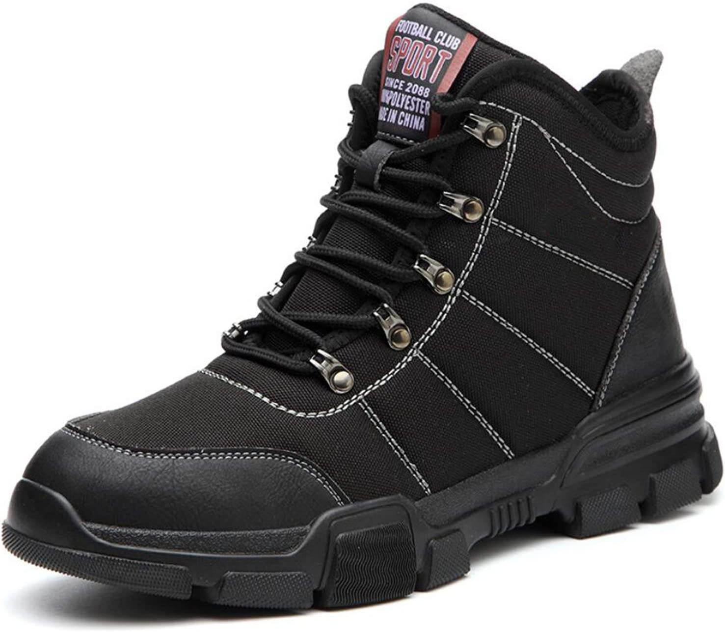 YLJXXY Men's Work Safety Shoes Indestructible Lightweight Steel Toe Footwear Slip Resistant Anti-Smash and Anti-Puncture Boots,Black,43
