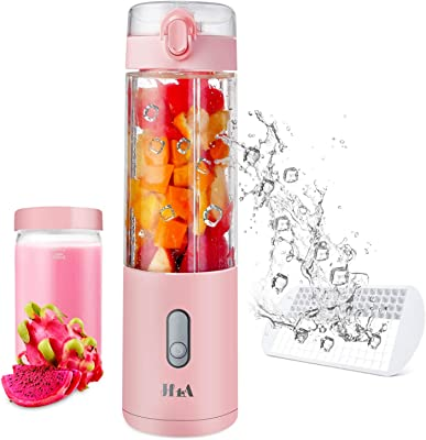 Portable Blender, Portable Smoothie Blender Personal Size Blender, Juicer Cup for Outdoor Picnic Travel Gym, Total Capacity 700ml, Excellent Gift Set, Six Stainless Food Blades, USB Rechargeable (Pink)