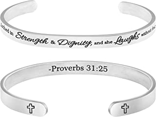 MEMGIFT Christian Bracelets for Girls Religious Gifts for Women Stainless Steel Cuff Bangle She is Clothed in Strength and Dignity,and she Laughs with Out Fears of The Future Proverbs 31:25