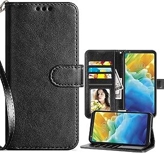 LG Stylo 5 Case,LG Stylo 5 Wallet Case,LG Stylo 5 Plus Cse,PU Leather Magnetic Folio Flip Card Slots Holster for Men Women w/Strap/Kickstand Protective Phone Case-Black