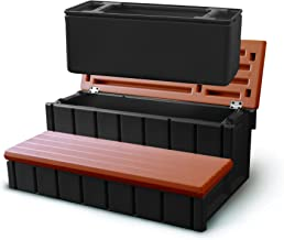 Leisure Accents Spa Step with Storage Compartment, Redwood/Beige