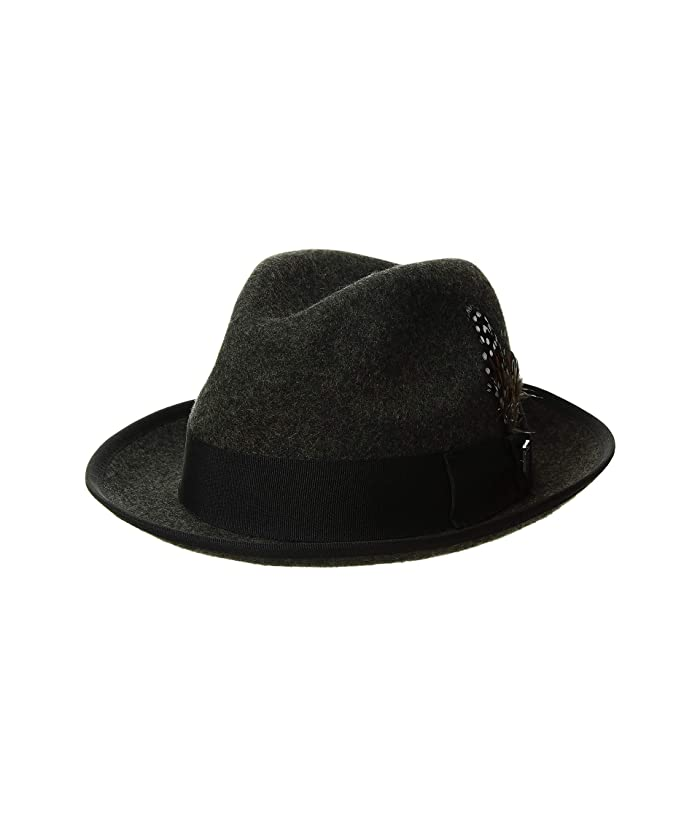 Stacy Adams Pinch Front Wool Fedora (Charcoal) Fedora Hats