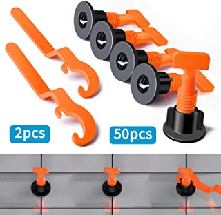Premium Tile Leveling System Kit with 50pcs Tile Leveler Spacers, 2 Special Wrenches, Reusable Tile Installation Tool Kit for Construction, Like Building Walls & Floors.