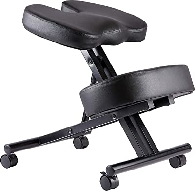 Kneeling Chair with Orthopedic Back Pain Seat, Faux Leather - Manual Adjust, Helps Prevent Coccyx Pain, Kneeling Chair for Better Posture.